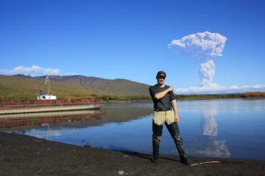 突然火山が噴火し始める素敵な場所カムチャツカ