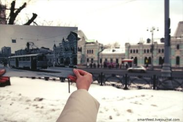 モスクワの過去の写真と現在の姿を重ねて撮影した写真が面白い!