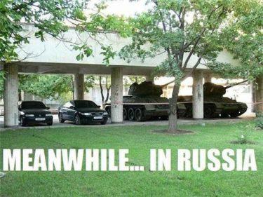 「一方ロシアでは…」と題された写真を見たロシア人の反応
