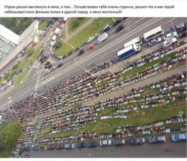 モスクワのアパートから撮影されたイスラムのお祭りの様子がすごい